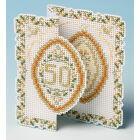 Golden Wedding Anniversary Card 3D Cross Stitch Kit