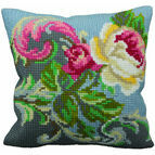 Antique Rose Left Cushion Panel Cross Stitch Kit