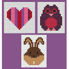 Easy Peasy Set Of 3 Children's Cross Stitch Kits - Heart, Owl & Bunny