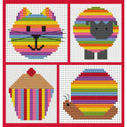 Sew Simple Set Of 4 Stripey Cross Stitch Kits - Cat Head, Cupcake, Sheep & Snail