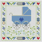 Blue Pram Cross Stitch Card Kit