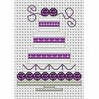 Purple Wedding Cake Cross Stitch Card Kit