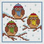 Christmas Owls Cross Stitch Card Kit