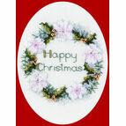 Golden Wreath Cross Stitch Christmas Card Kit