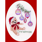 Christmas Teddy Bear Cross Stitch Card Kit