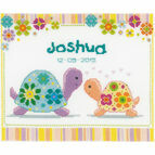 Colourful Turtles Birth Record Cross Stitch Kit