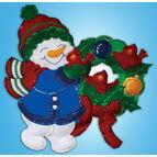 Snowman Wreath Christmas Wall Hanging Felt Kit
