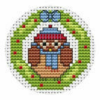Owl Wreath Christmas Card Cross Stitch Kit