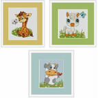 Animal Mini Kit Selection - Giraffe, Cow and Pony Cross Stitch Kits