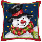 Snowman & Stars Chunky Cross Stitch Cushion Panel Kit
