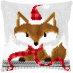 Fox In Santa Hat Chunky Cross Stitch Cushion Panel Kit