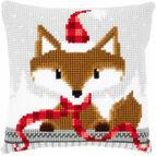 Fox In Santa Hat Chunky Cross Stitch Cushion Panel Kit