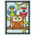 Owl Trio Cross Stitch Kit