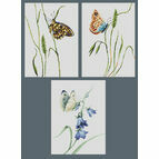 Set Of 3 Summer Butterfly Cross Stitch Kits