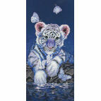 White Baby Tiger Cross Stitch Kit