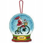 Love Snow Globe Cross Stitch Ornament Kit