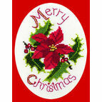 Poinsettia & Holly Cross Stitch Christmas Card Kit