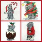 Set Of 4 Mini Tatty Teddy Christmas Cross Stitch Kits (set 1)