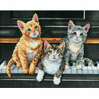 Meowsical Trio Cross Stitch Kit