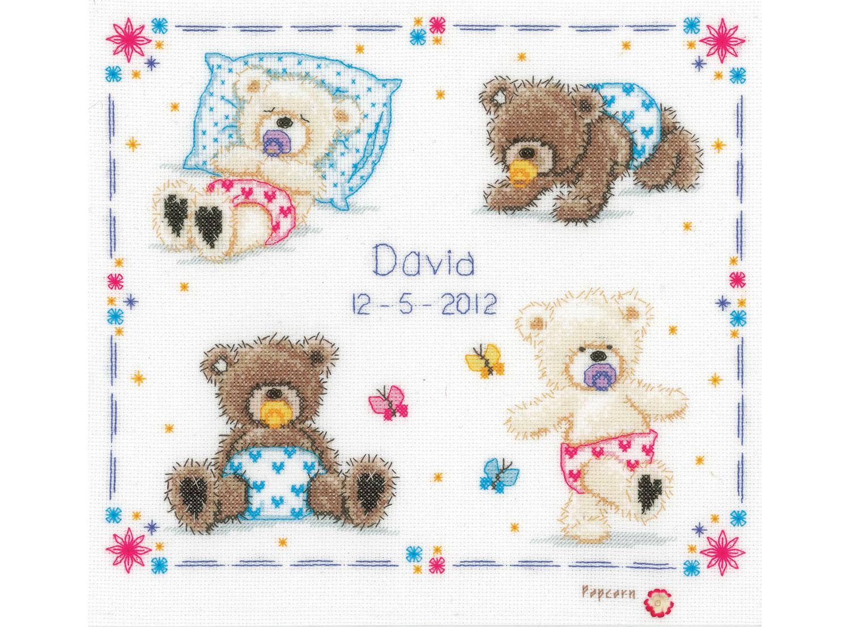 Baby Popcorn Teddy Bear Counted Cross Stitch Kit