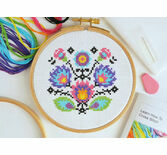 Beginners Folk Flowers - Learn How To Cross Stitch Complete Tutorial Kit
