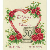 Golden 50th Wedding Anniversary Heart Cross Stitch Kit