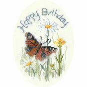 Butterfly And Daisies Greetings Card Cross Stitch Kit