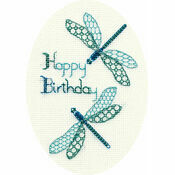 Dragonfly Birthday Cross Stitch Card Kit