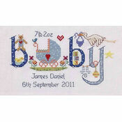 Baby Boy Birth Sampler Cross Stitch Kit