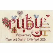Ruby Wedding Anniversary Word Sampler Cross Stitch Kit
