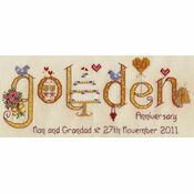 Golden Wedding Anniversary Word Sampler Cross Stitch Kit
