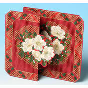 Christmas Rose Card 3D Cross Stitch Kit
