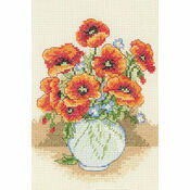 Poppy Flower Vase Starter Cross Stitch Kit