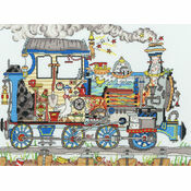 Cut Thru\' Steam Train Cross Stitch Kit