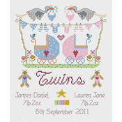 Twins Birth Sampler Cross Sttich Kit (Boy / Girl Version)