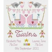 Twin Girls Birth Sampler Cross Stitch Kit