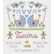 Twin Boys Birth Sampler Cross Stitch Kit