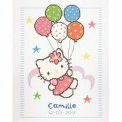 Hello Kitty Balloons Birth Sampler Cross Stitch Kit