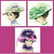 Set Of 3 Elegance Collection Miniature Portrait Cross Stitch Kits - Rebecca, Sophia and Charlotte