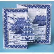 Blue Pagoda 3D Cross Stitch Card Kit