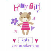 Madison Bear Girl Birth Sampler Cross Stitch Kit