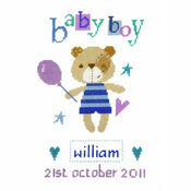 Madison Bear Boy Birth Sampler Cross Stitch Kit
