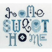Home Sweet Home Blue Cross Stitch Kit