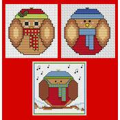 Round Robins & Owls Cross Stitch Christmas Card Kits - Set Of 3