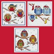 Rockin' Robins & Owls Cross Stitch Christmas Card Kits - Set Of 3