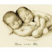 Twins Cross Stitch Birth Sampler Kit