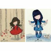 Gorjuss Set Of 2 - Poppy Wood & I Found My Family In A Book Cross Stitch Kits