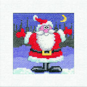 Santa Square Christmas Card Cross Stitch Kit