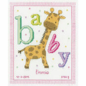 Baby Giraffe Birth Sampler Cross Stitch Kit
