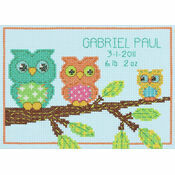 Mini Owl Birth Record Cross Stitch Kit